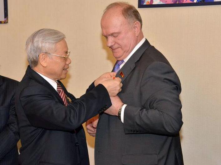 Состоялась встреча Председателя ЦК КПРФ Г.А. Зюганова с Генеральным секретарем ЦК КПВ товарищем Нгуен Фу Чонгом